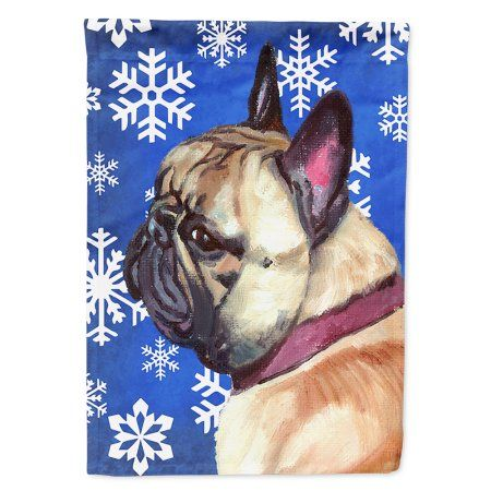 French Bulldog Frenchie Winter Snowflakes Holiday Flag Canvas