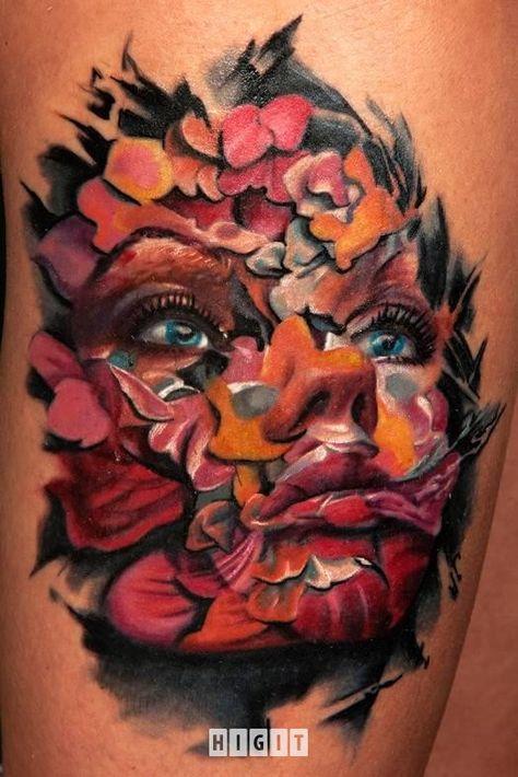 Tatuaże Antonio Proietti Artystyczny Kolorowy Twarz