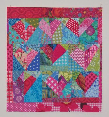 Basket full of Scraps...: Pink Valentine scrap quilt.