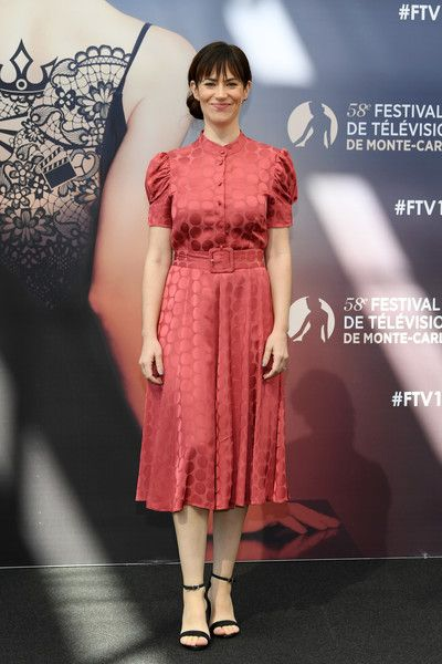 Maggie Siff from the series 'Billions' attends a photocall during the 58th Monte Carlo TV Festival.