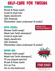 Self-care daily routine schedule for tweens. Gentle reminder for your tween  to establish a good daily routin… | Daily routine schedule, Daily routine,  Night routine