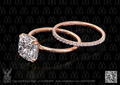 Pink Gold Modern Solitaire Ring by Leon Megé