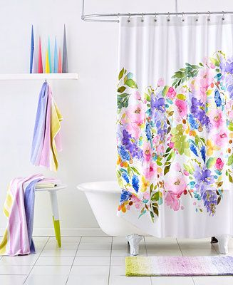Bluebellgray Wisteria Shower Curtain Bathroom Accessories Bed