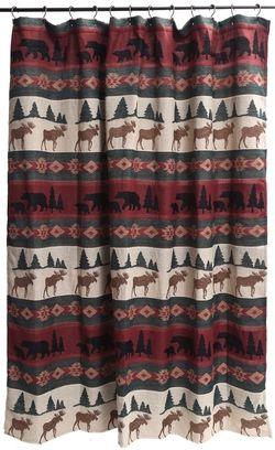 Takoma Shower Curtain Primitive Bathrooms Lodge Shower Curtain