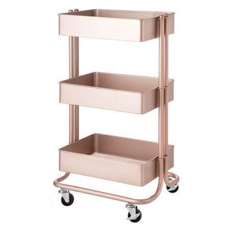 3-tier Metal Rolling Cart-blush Pink