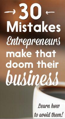 30 Mistakes Entrepreneurs Make -