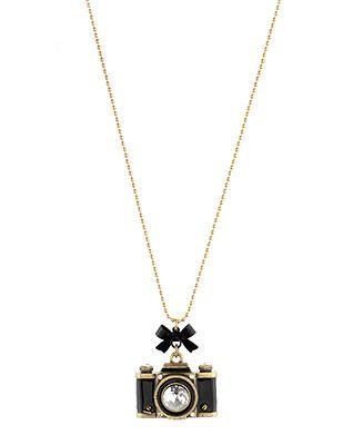 Betsey Johnson Gold-Tone Camera Pendant Necklace - Fashion Jewelry - Jewelry & Watches - Macy's