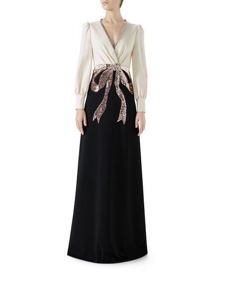 Gucci Long,Sleeve Evening Gown w/ Bow Embroidery in 2019