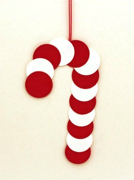 Simple materials and simple tools makes this paper circles candy cane ornament a fun, easy and quick project for anyone to do. Simple materials and simple tools makes this paper circles candy cane ornament a fun, easy and quick project for anyone to do. Christmas Crafts For Kids To Make, Felt Christmas Decorations, Christmas Paper Crafts, Preschool Christmas, Kids Christmas, Holiday Crafts, Christmas Ornaments, Christmas Candy, Spring Crafts