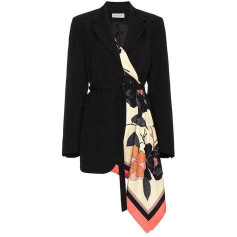 New DRIES VAN NOTEN 'Viard' Scarf Detail Black Blazer Jacket FR42 US10