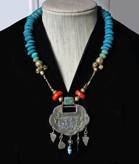 Lapis Blue Turquoise Nepali Work Jewelry Red Coral Sterling Silver Overlay 89 Grams Necklace 18