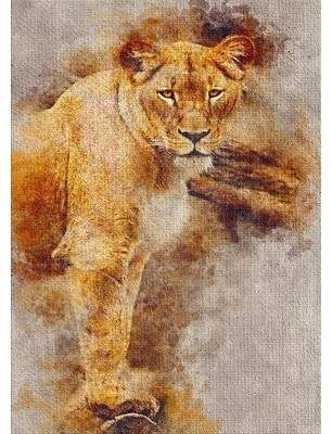 East Urban Home Lioness Brown Area Rug Brown Area Rugs Lion Illustration Dark Gray Area Rug