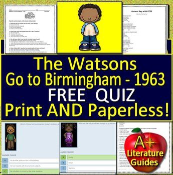 The Watsons Go To Birmingham 1963 Novel Study Unit Free Sample