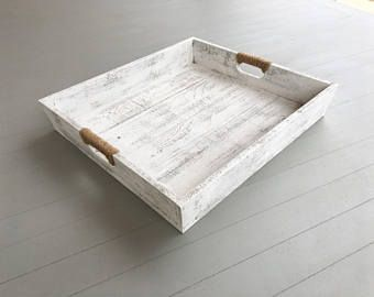 Astonishing Large Wooden Distressed Tray In White Wooden Serving Tray Short Links Chair Design For Home Short Linksinfo