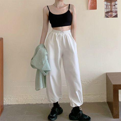 Woman Loose Sweatpants Joggers, Gray-White High Waist Pants, Comfort Simple Basic Casual Fashion Sport New