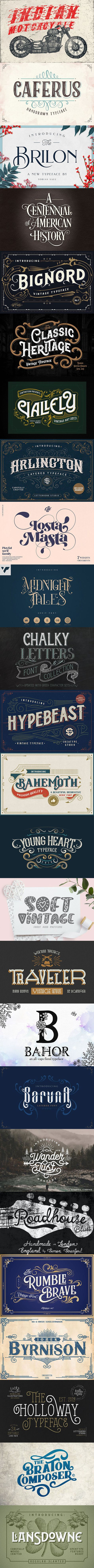 25 Beautiful Ornate Vintage & Retro Fonts