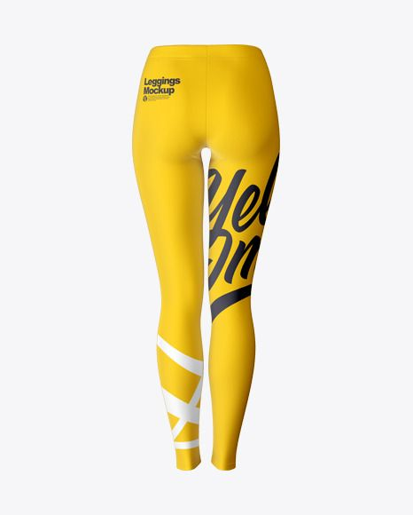 Long Leggings Mockup Back View In Apparel Mockups On Yellow Images Object Mockups Shirt Mockup Long Leggings Design Mockup Free