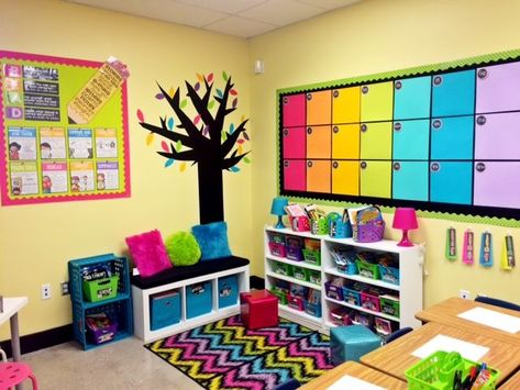 Bright and colorful classroom reading corner