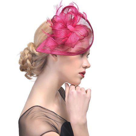 Beautiful Women Mesh Ribbons Feathers Headband Cocktail Tea Party Hat Headwear