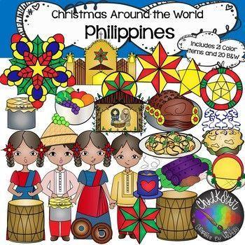 Philippines Clip Art Christmas Around The World Chalkstar Graphics Art Chalkstar Christmas Clip Graphic In 2020 Clip Art Christmas Teaching Christmas Classroom