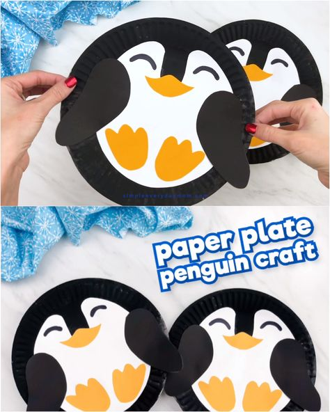 Looking for a fun and easy penguin craft idea for kids? This paper plate penguin is a simple DIY for toddlers, preschool and kindergarten children, plus it comes with a free printable template! Download it today!  #simpleeverydaymom #paperplatecrafts #penguincrafts #kidscrafts #wintercrafts