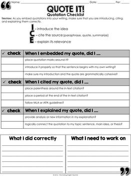 Embedding Quotations: A Common Core Lesson About Writing with Quotes ...
