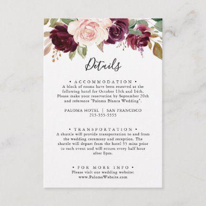Rustic Floral Botanical Foliage Wedding Details Enclosure Card Zazzle Com In 2020 Foliage Wedding Wedding Details Watercolor Floral Invitation