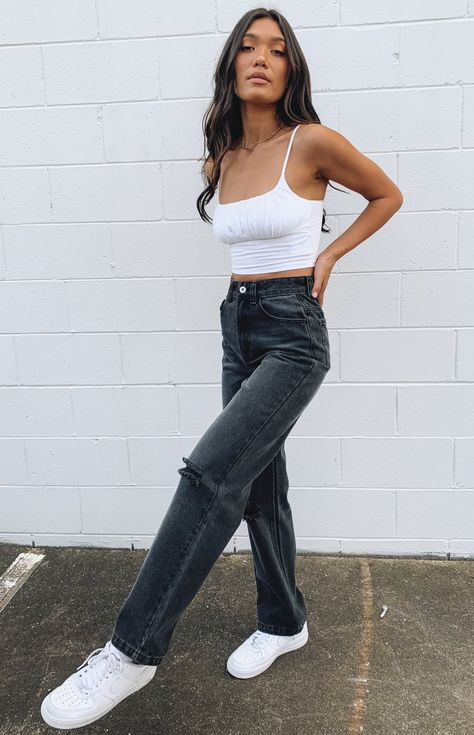 Adrette Outfits, Basic Outfits, Teen Fashion Outfits, Retro Outfits, Heels Outfits, Travel Outfits, Preppy Outfits, Cute Outfits With Jeans, Outfit Jeans