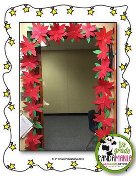 Poinsettia Christmas Craft Easy To Make And Beautiful To Display For The Holidays Gr Classroom Christmas Decorations Christmas Classroom Door Christmas Crafts