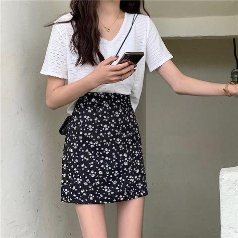Vintage Skirt Fashion Style - Vintage Floral A-line High Waist College Girl Mini Skirt