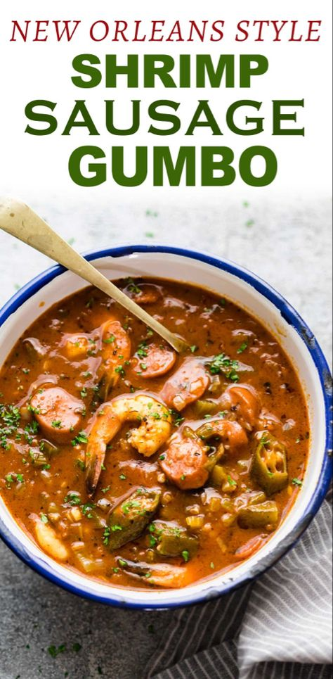 New Orleans style Shrimp Sausage Gumbo - This approachable New Orleans Shrimp sausage Gumbo recipe is broken down into steps so it& ea - Cajun Recipes, Seafood Recipes, New Recipes, Dinner Recipes, Cooking Recipes, Healthy Recipes, Haitian Recipes, Louisiana Recipes, New Orleans Recipes