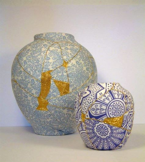Brighton-based embroidery artistCharlotte Bailey constructs her patchwork vases by sewing fragmented porcelain back together, using patterned fabric and metallic thread. Her creations put a dazzling new spin on the ancient Japanese custom of kintsugi. In the traditional kintsugi technique, broken pottery is repaired by rejoining the pieces with golden lacquer, which highlights the damage as a celebrated aspect of the heirloom's history. Bailey was inspired by the philosophy, she explains…