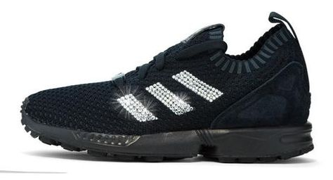 Adidas ZX Flux + Crystallized Swarovski 3-Stripe - Triple Black ... c1a968e1ded3
