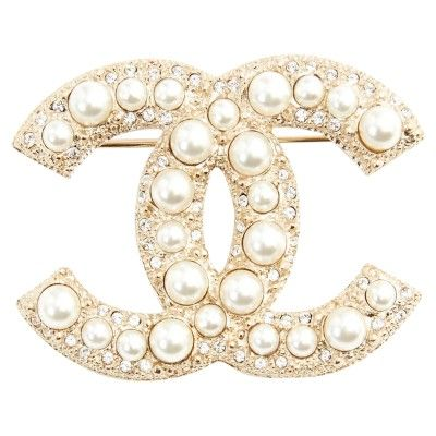 Chanel Gold Colored Brooch With Pearls Chanel Brooch Chanel Pins Simple Jewelry