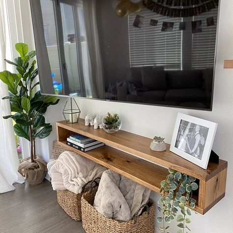 Floating Tv Console, Floating Tv Stand, Rustic Tv Console, Console Tv, Living Room Tv, Apartment Living, Home And Living, Corner Table Living Room, Tv Stand Decor
