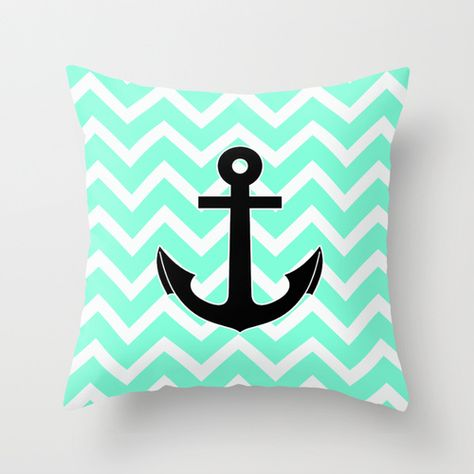 chevron anchor pillow | Tiffany Chevron Anchor Throw Pillow by RexLambo | Society6