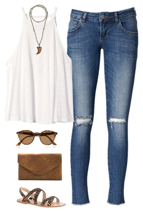 """""""I'm Backkkk"""" by thevirginiaprep ❤ liked on Polyvore featuring Anine Bing, H&M, Ray-Ban, Hipchik, Meckela and J.Crew"""