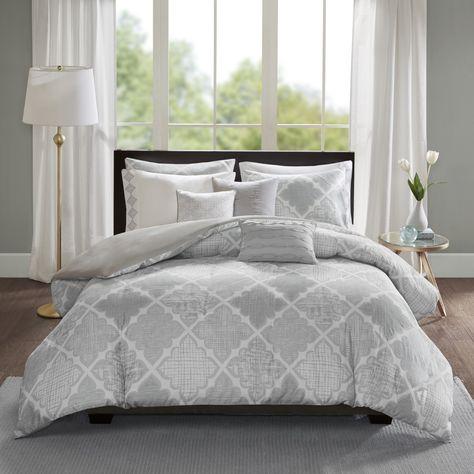Madison Park Karyna Grey 8 Piece Cotton Sateen Printed Duvet Cover