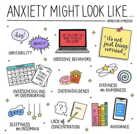 We're 2 weeks into Mental Health Awareness month! ⠀ ⠀ Anxiety can present itself in lots of ways. In fact, I've seen my own anxiety show up… Health Anxiety, Anxiety Tips, Anxiety Help, Stress And Anxiety, Symptoms Of Anxiety, Anxiety And Depression, Anxiety Facts, Coping Skills For Anxiety, Social Anxiety Quotes