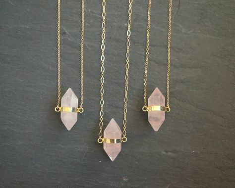 These geometric drops. | 27 Rose Quartz Necklaces That Are Too Pretty For Words