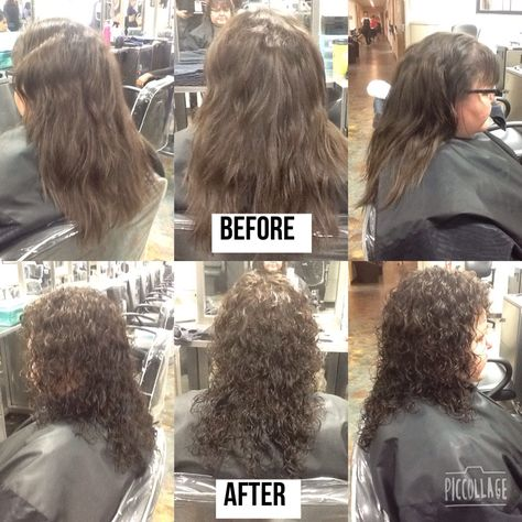 Before And After Spiral Perm Using Lavender Rods And Quantum Firm Options Spiral Perm Permed Hairstyles Perm