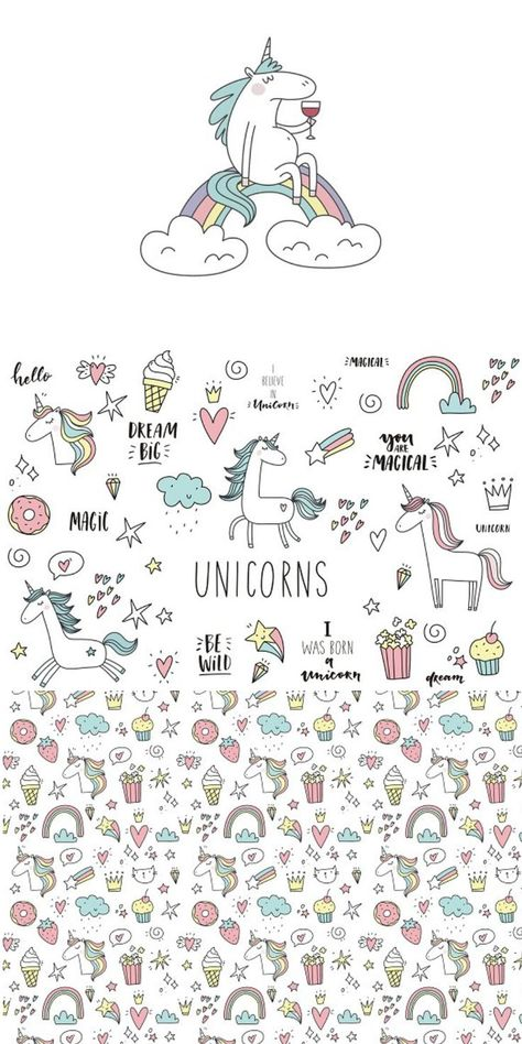 Unicorn doodle illustration clipart, quotes, cute cards, and graphic elements in EPS. Perfect for card making, bullet journal covers and decoration, scrapbooks, stationary, and paper crafts #ad #doodles #bulletjournals #papercrafts #stationary #graphics #