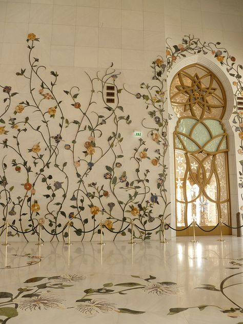 Marble Embossed climber multi color flowers onwalls of Sheikh Zayed Mosque - Abu Dhabi, UAE Art Et Architecture, Mosque Architecture, Beautiful Architecture, Beautiful Buildings, Ancient Architecture, Abu Dhabi, Beautiful Mosques, Beautiful Places, Grand Mosque