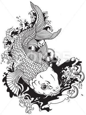 Japanese Carp Koi Black White Stock Illustration Ad Koi Carp Japanese Black Koi Dragon Tattoo Koi Art Koi Fish Drawing