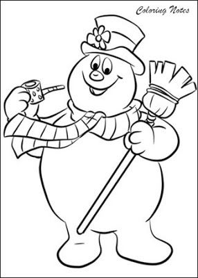 Frosty The Snowman Coloring Pages For Christmas Snowman Coloring