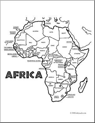 Labeled Africa Map For Kids.Clip Art Africa Map Coloring Page Labeled I Abcteach Com