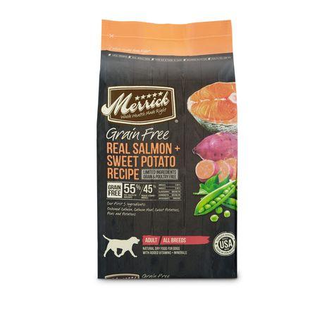 Merrick Grain Free Real Salmon Sweet Potato Dry Dog Food 4 Lbs Petco In 2021 Dry Dog Food Sweet Potatoes For Dogs Senior Dog Food Recipes