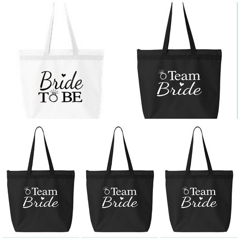 Bride To Be & Team Bride Zippered Tote Bag.  Bridal Party Tote Bags