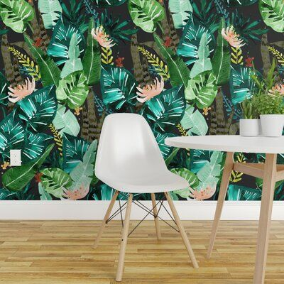 Bay Isle Home Gauthier Palm Removable Wallpaper Panel Wayfair Wallpaper Panels Peel And Stick Wallpaper Palm Wallpaper