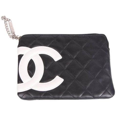 dcdd9965ecfe Chanel Ligne Cambon Zip Pouch - black/white | My 1stdibs Favorites